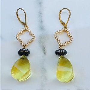 Jewelry - 14k gold diamond 20 CT lime citrine earrings